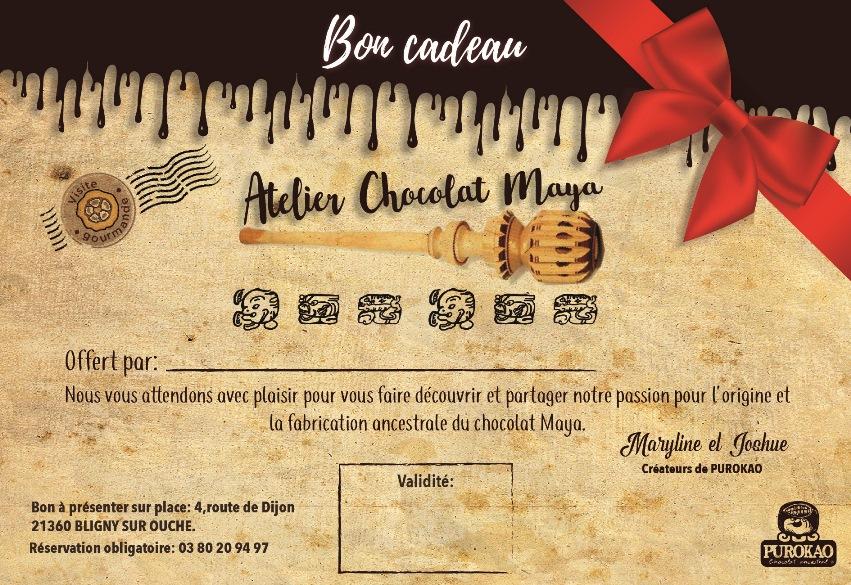 bon cadeau atelier chocolat maya