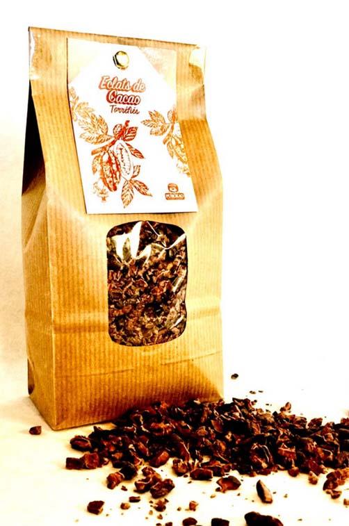 éclats de fèves de cacao torréfiés